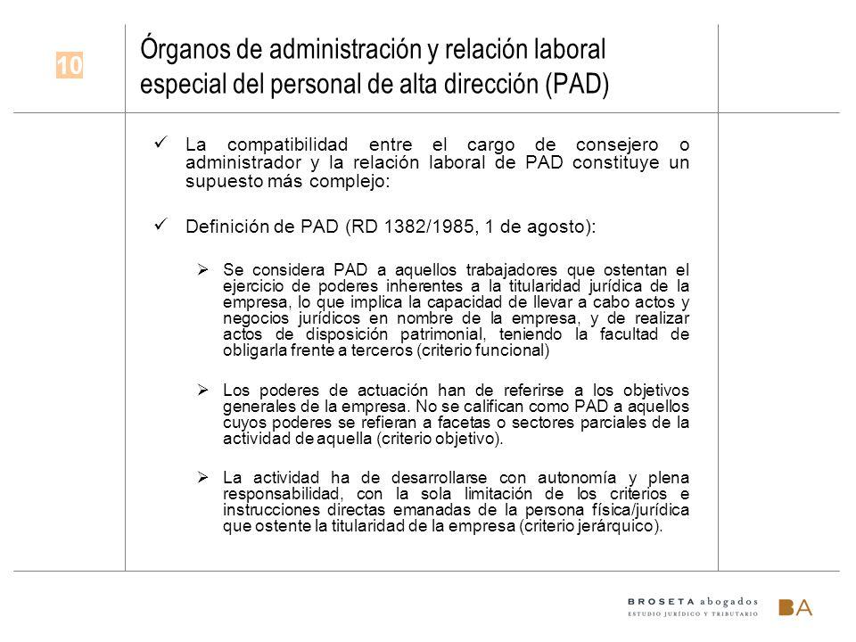 Órganos de administración y relación laboral especial del personal de alta dirección (PAD)