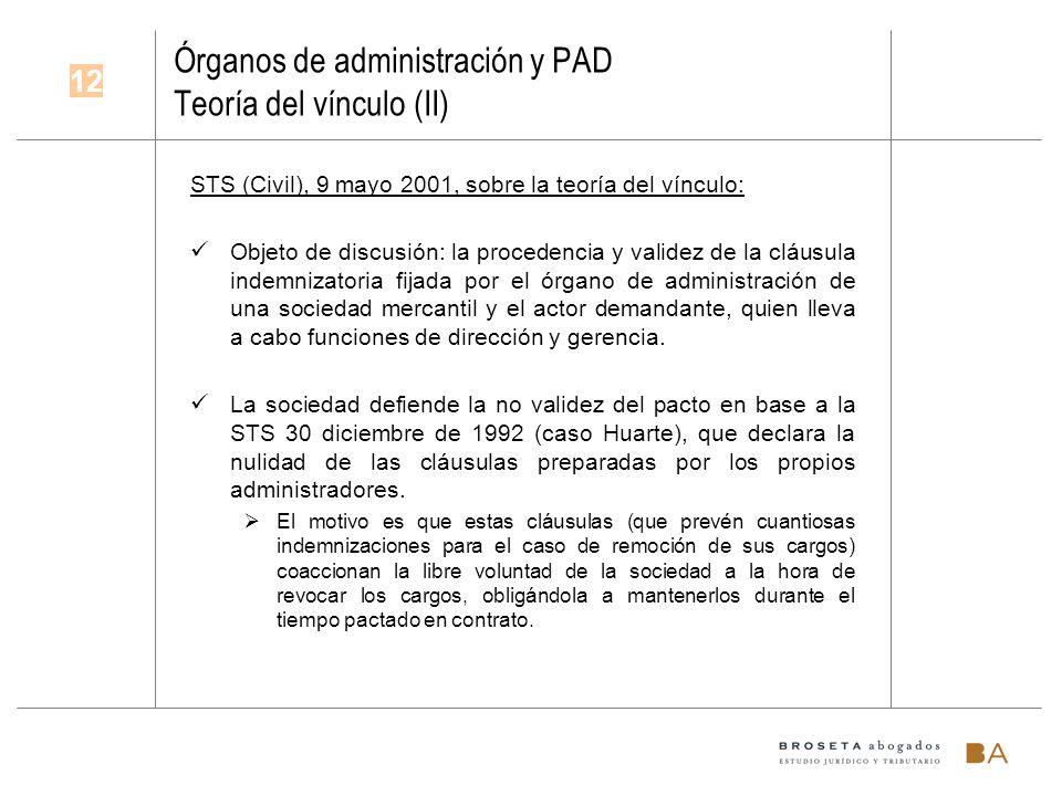 Órganos de administración y PAD Teoría del vínculo (II)