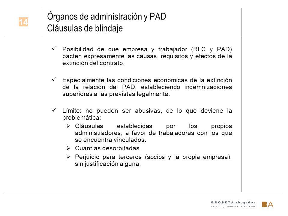 Órganos de administración y PAD Cláusulas de blindaje