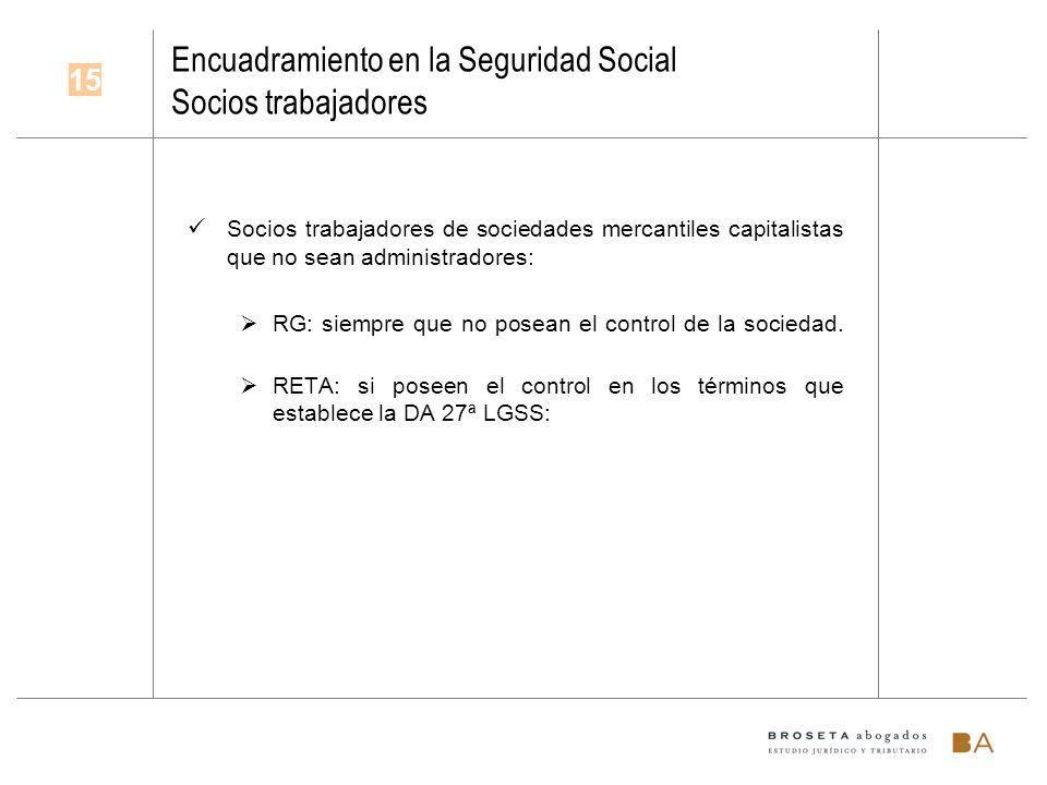 Encuadramiento en la Seguridad Social Socios trabajadores