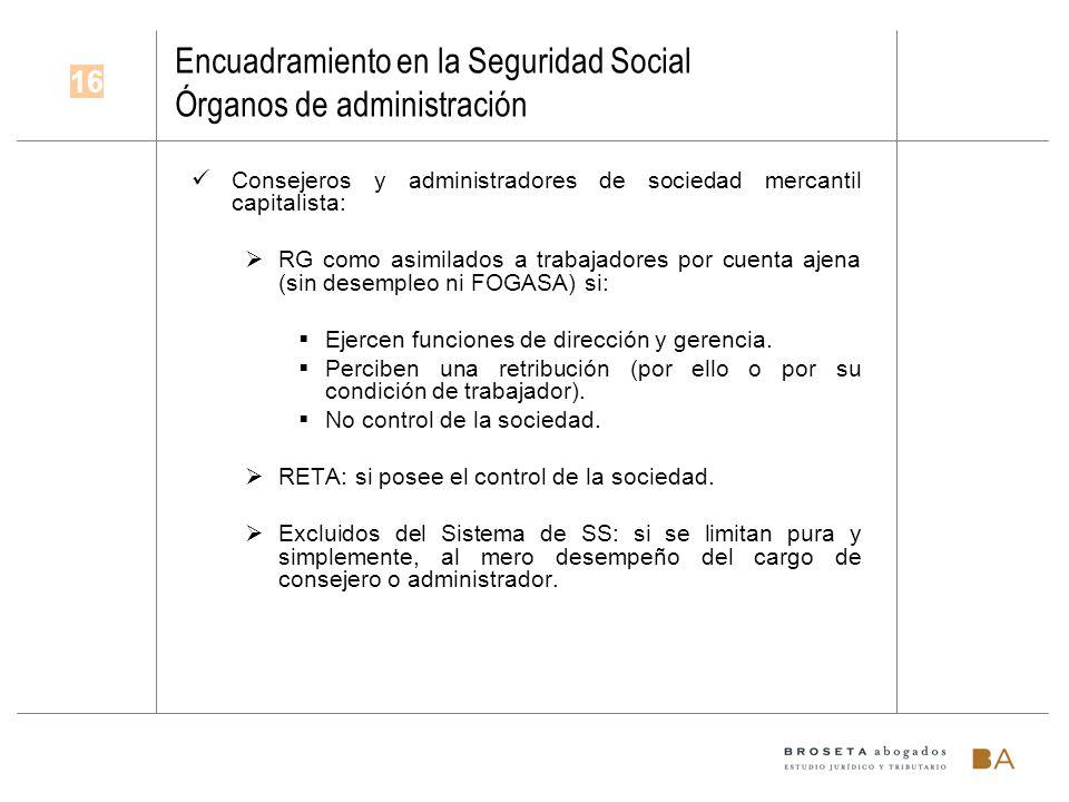 Encuadramiento en la Seguridad Social Órganos de administración