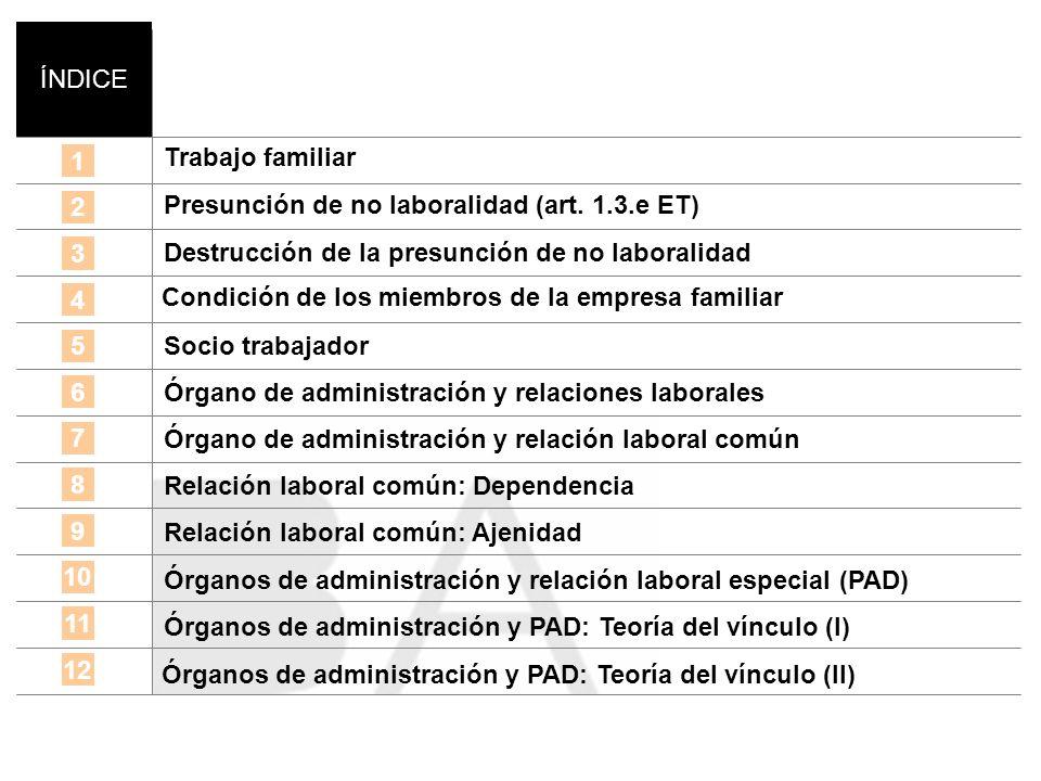 ÍNDICE Trabajo familiar. 1. Presunción de no laboralidad (art. 1.3.e ET) Destrucción de la presunción de no laboralidad.