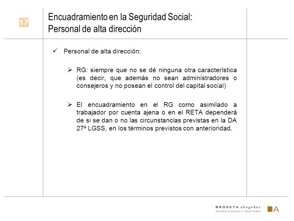 Encuadramiento en la Seguridad Social: Personal de alta dirección