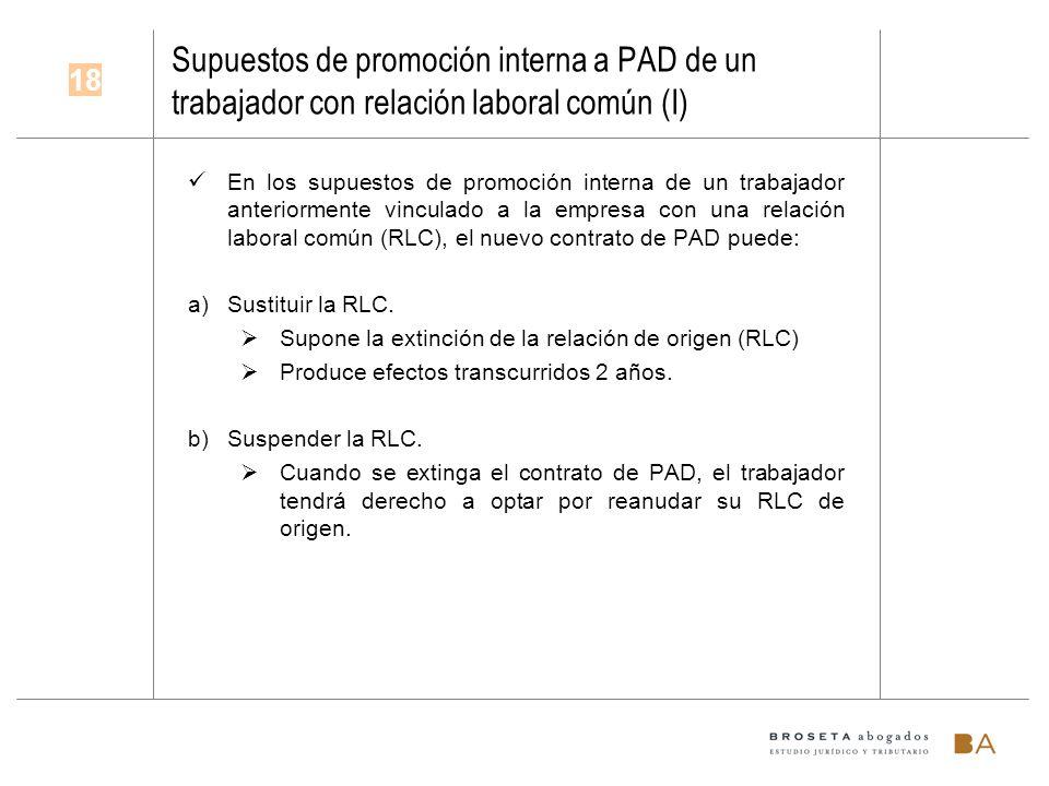 Supuestos de promoción interna a PAD de un trabajador con relación laboral común (I)