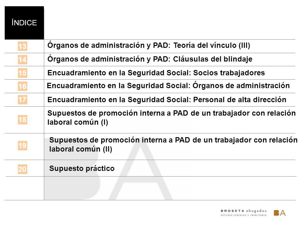 ÍNDICE Órganos de administración y PAD: Teoría del vínculo (III) 13. Órganos de administración y PAD: Cláusulas del blindaje.