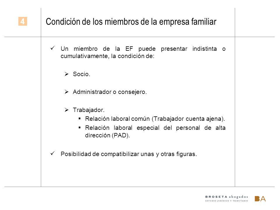 Condición de los miembros de la empresa familiar