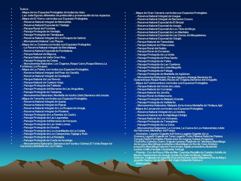 Índice....- Mapa de los Espacios Protegidos de todas las islas. .- Las siete figuras diferentes de protección y preservación de los espacios.