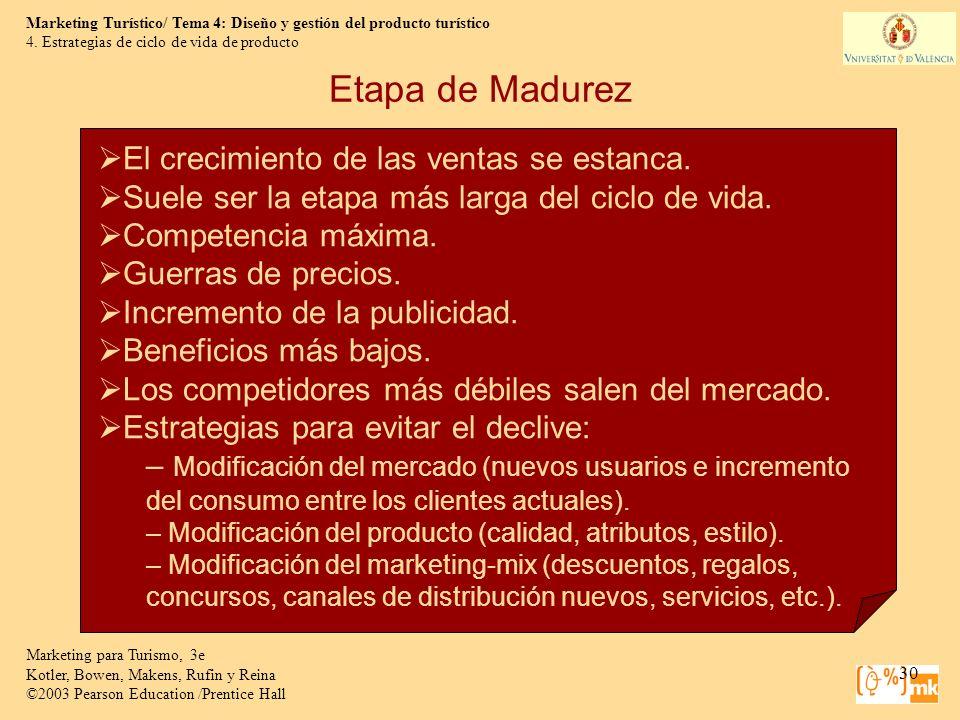 Etapa de Madurez El crecimiento de las ventas se estanca.