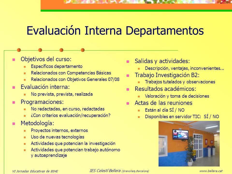 Evaluación Interna Departamentos