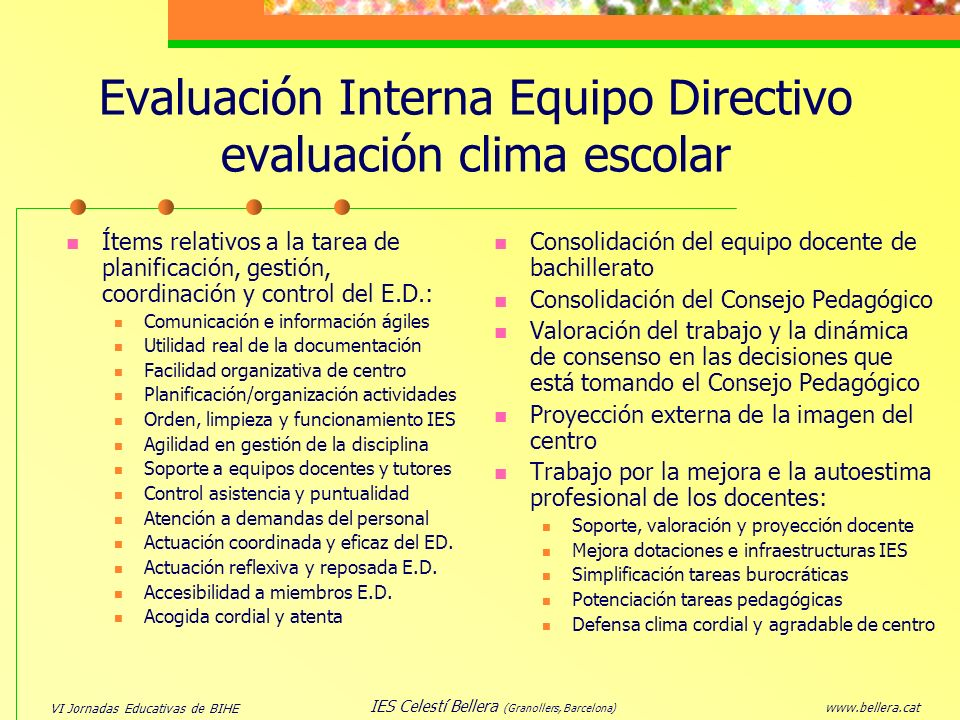 Evaluación Interna Equipo Directivo evaluación clima escolar