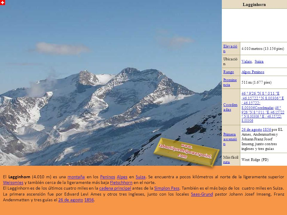 Lagginhorn Elevació n. 4.010 metros (13.156 pies) Ubicació n. Valais, Suiza. Rango. Alpes Peninos.