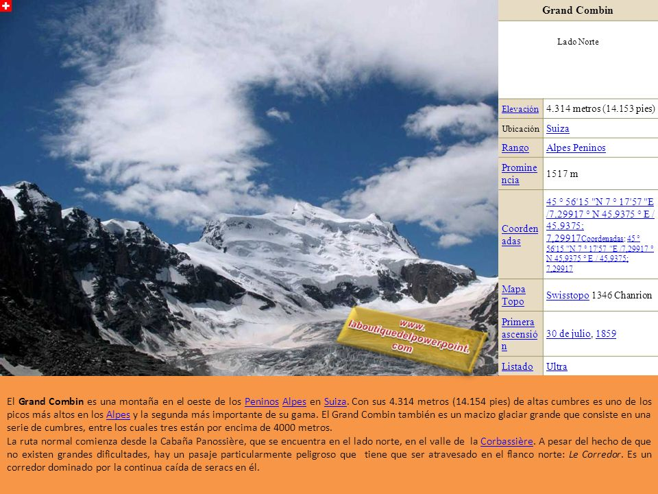 Grand Combin Lado Norte. Elevación. 4.314 metros (14.153 pies) Ubicación. Suiza. Rango. Alpes Peninos.
