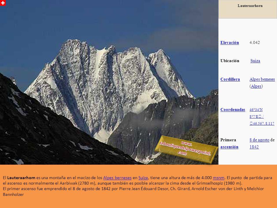 Lauteraarhorn Elevación. 4.042. Ubicación. Suiza. Cordillera. Alpes berneses (Alpes) Coordenadas.