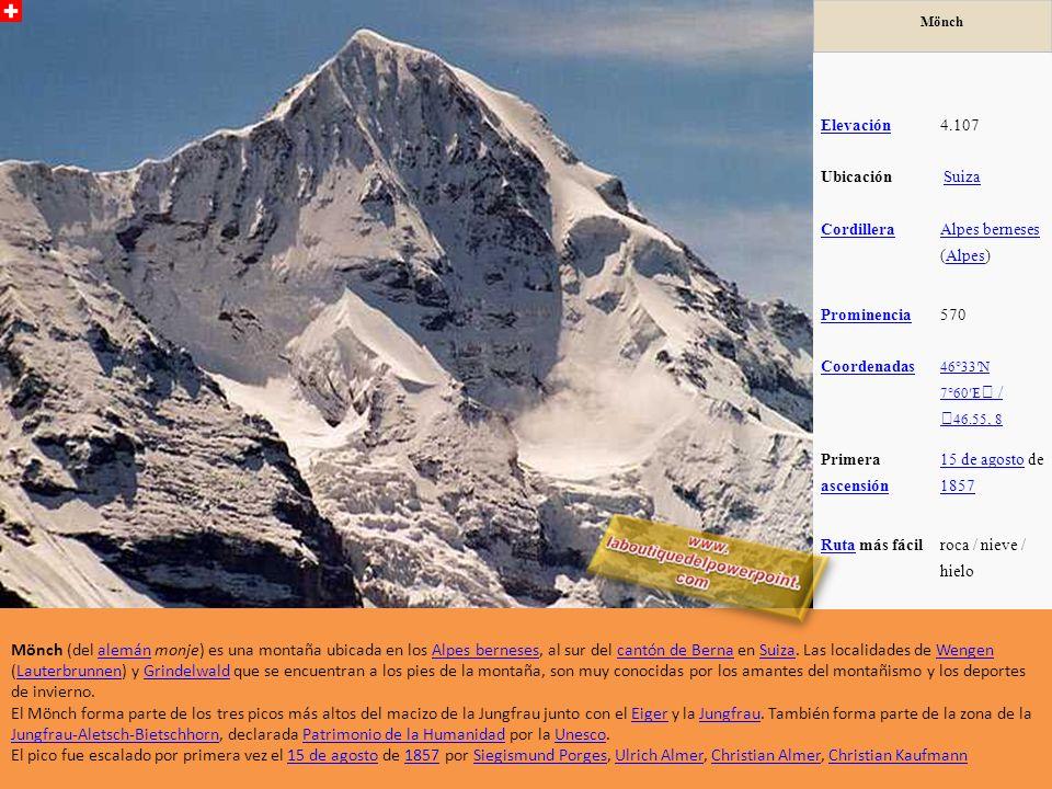 Mönch Elevación. 4.107. Ubicación. Suiza. Cordillera. Alpes berneses (Alpes) Prominencia. 570.