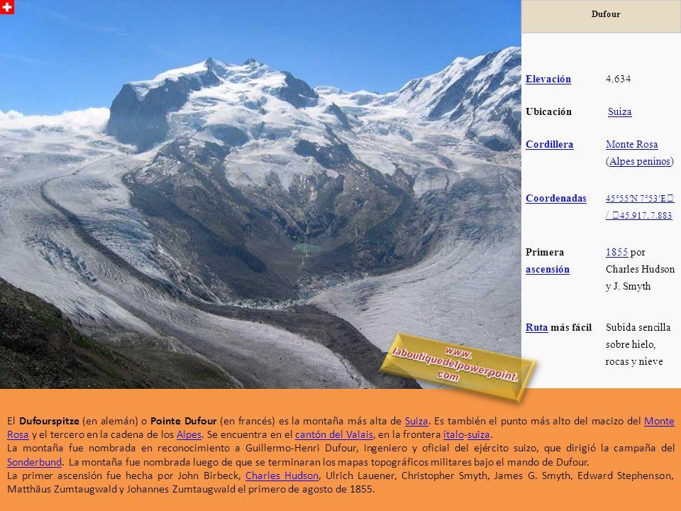 Dufour Elevación. 4.634. Ubicación. Suiza. Cordillera. Monte Rosa (Alpes peninos) Coordenadas.