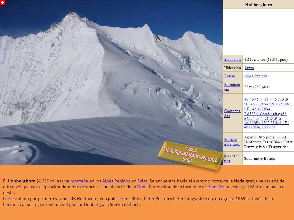 Hohberghorn Elevación. 4.219 metros (13.841 pies) Ubicación. Suiza. Rango. Alpes Peninos. Prominencia.