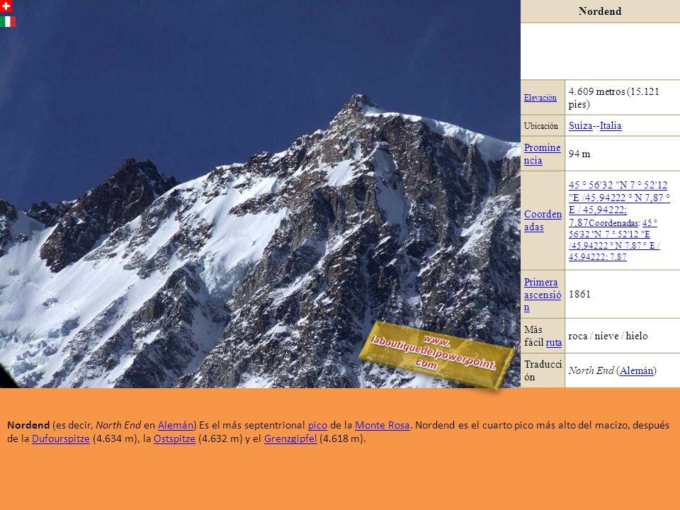 Nordend Elevación. 4.609 metros (15.121 pies) Ubicación. Suiza--Italia. Promine ncia. 94 m.