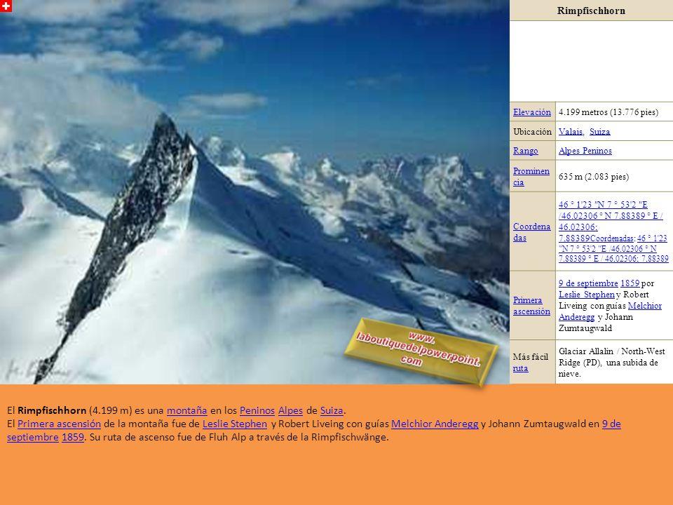 Rimpfischhorn Elevación. 4.199 metros (13.776 pies) Ubicación. Valais, Suiza. Rango. Alpes Peninos.
