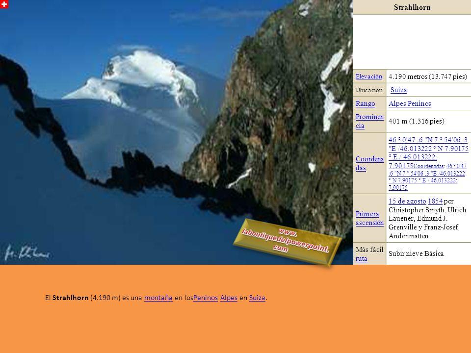 El Strahlhorn (4.190 m) es una montaña en losPeninos Alpes en Suiza.