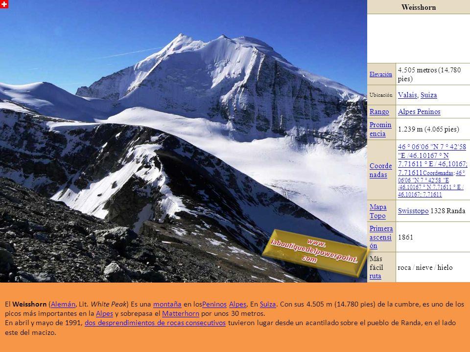 Weisshorn Elevación. 4.505 metros (14.780 pies) Ubicación. Valais, Suiza. Rango. Alpes Peninos.