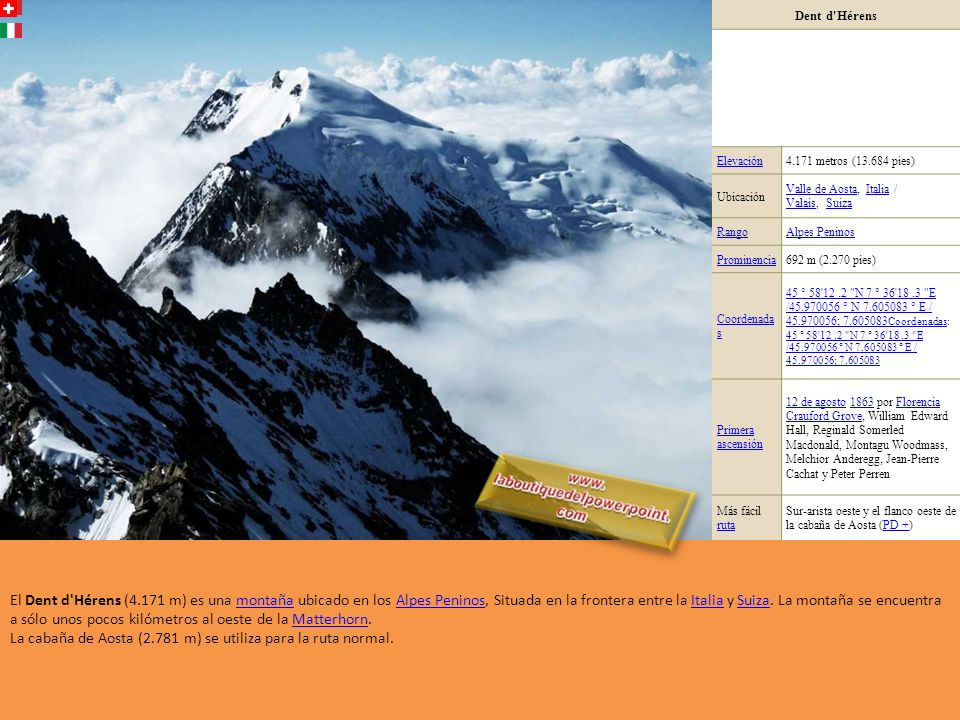 La cabaña de Aosta (2.781 m) se utiliza para la ruta normal.
