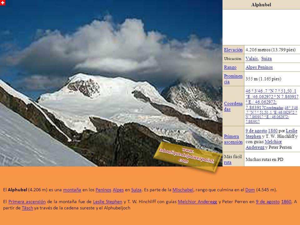 Alphubel Elevación. 4.206 metros (13.799 pies) Ubicación. Valais, Suiza. Rango. Alpes Peninos.