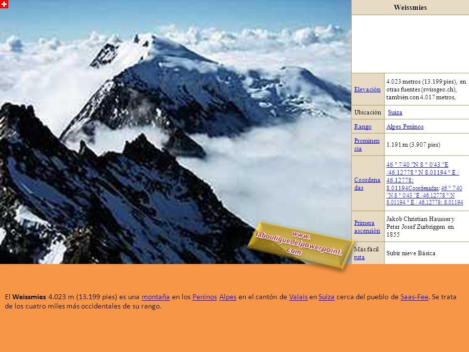 Weissmies Elevación. 4.023 metros (13.199 pies), en otras fuentes (swissgeo.ch), también con 4.017 metros,