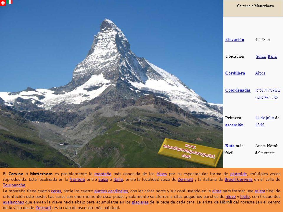 Cervino o Matterhorn Elevación. 4.478 m. Ubicación. Suiza Italia. Cordillera. Alpes. Coordenadas.