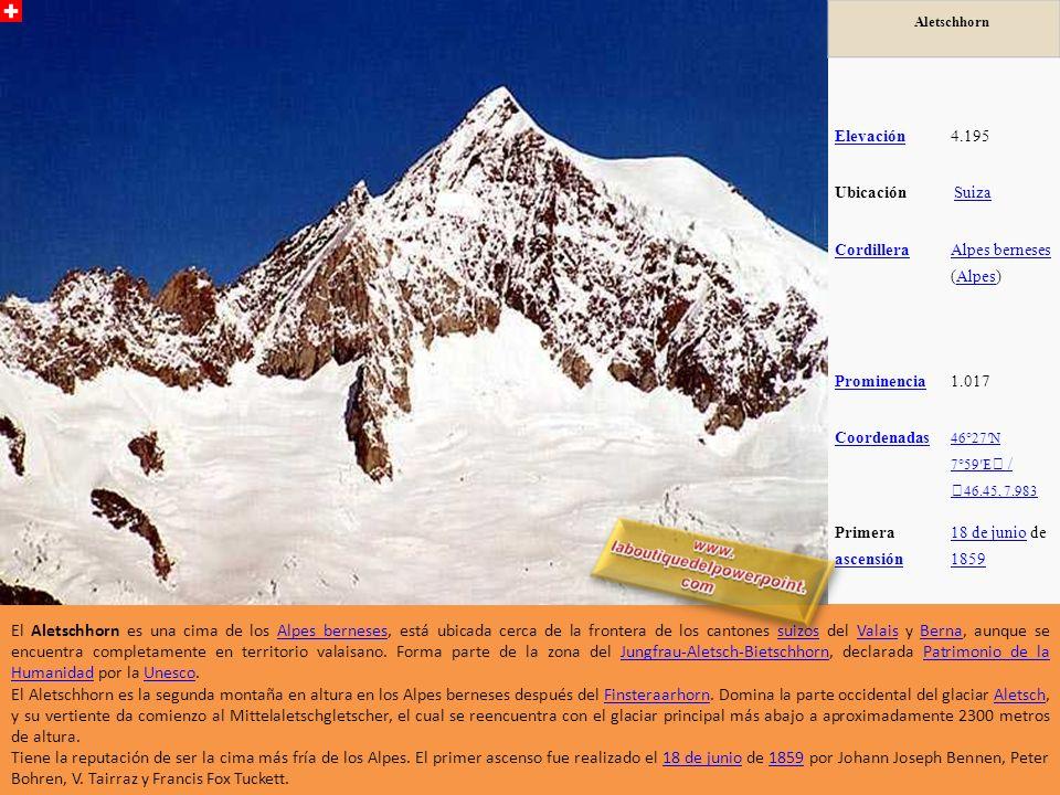 Aletschhorn Elevación. 4.195. Ubicación. Suiza. Cordillera. Alpes berneses (Alpes) Prominencia.