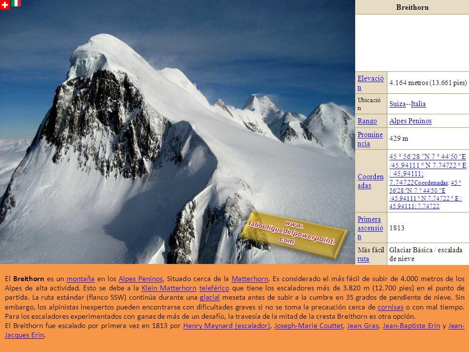 Breithorn Elevació n. 4.164 metros (13.661 pies) Ubicació n. Suiza--Italia. Rango. Alpes Peninos.
