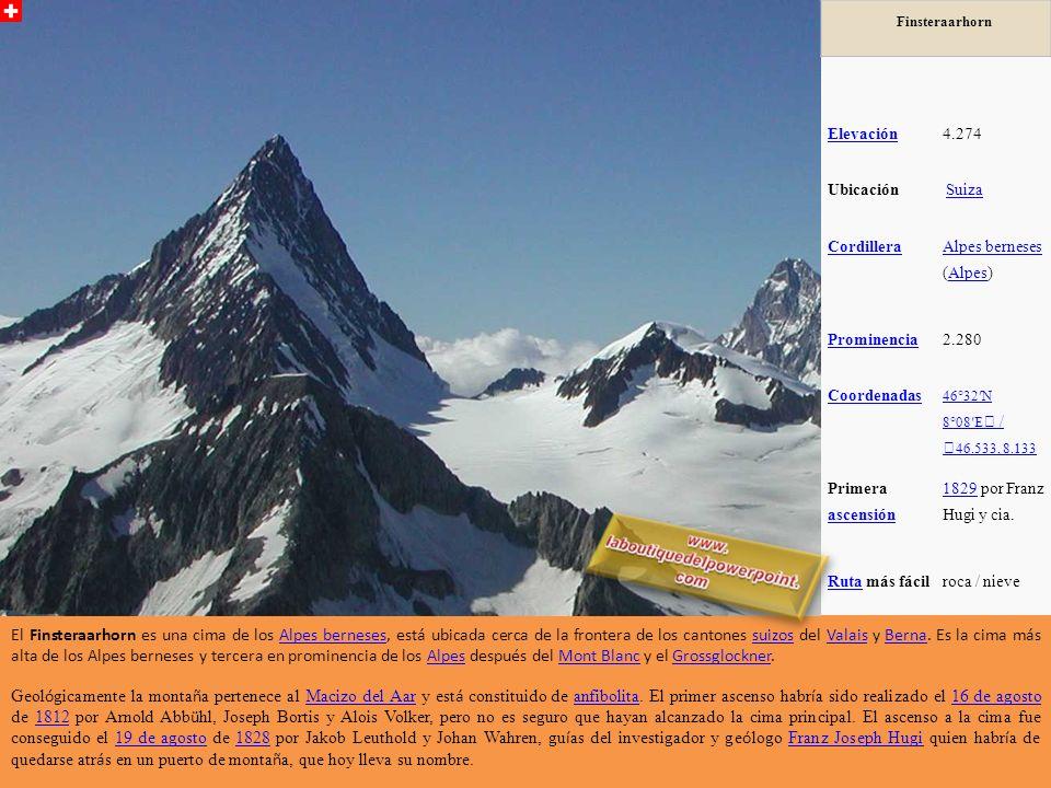 Finsteraarhorn Elevación. 4.274. Ubicación. Suiza. Cordillera. Alpes berneses (Alpes) Prominencia.