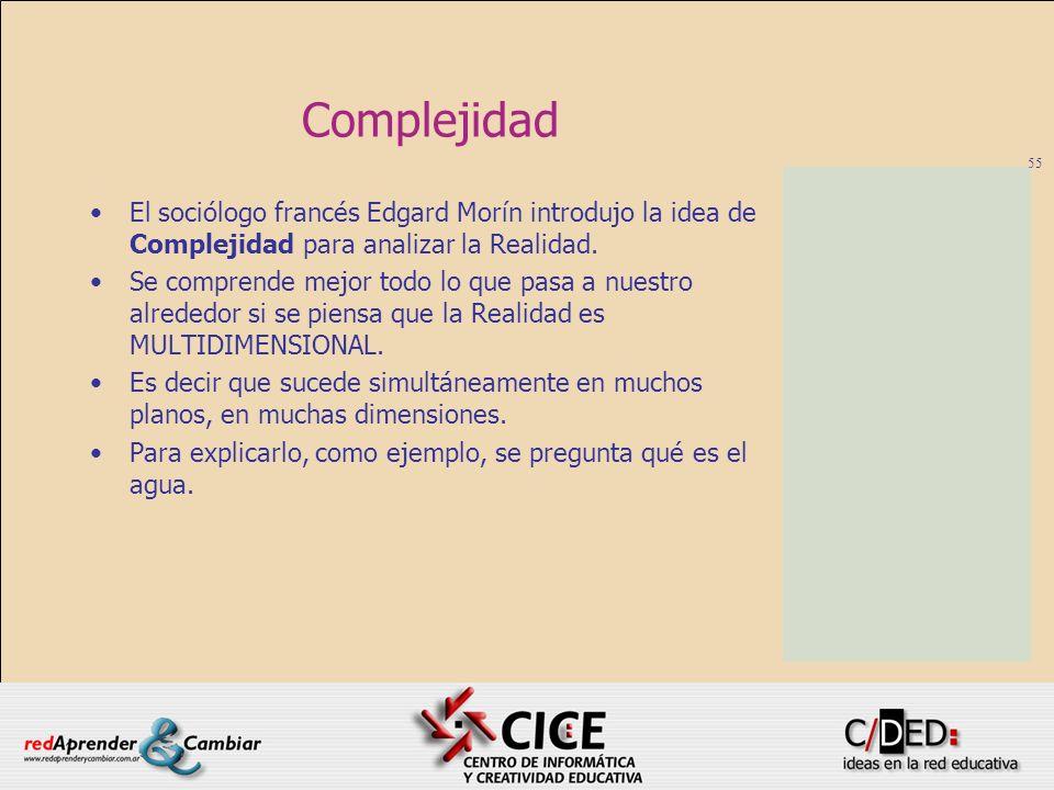 Complejidad El sociólogo francés Edgard Morín introdujo la idea de Complejidad para analizar la Realidad.