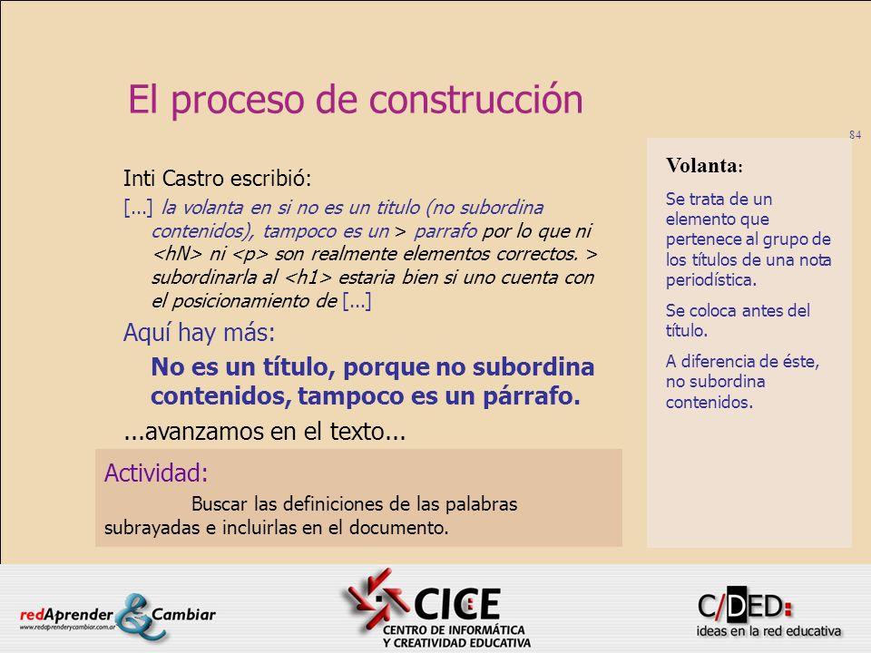 El proceso de construcción