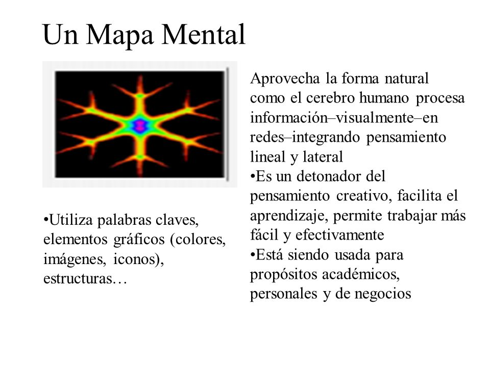 Un Mapa Mental Aprovecha la forma natural como el cerebro humano procesa información–visualmente–en redes–integrando pensamiento lineal y lateral.