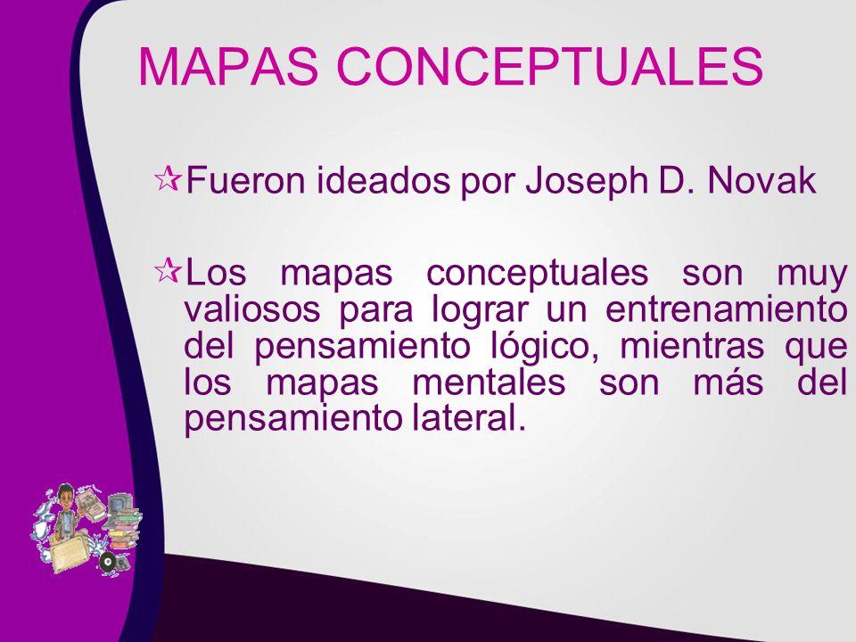 MAPAS CONCEPTUALES Fueron ideados por Joseph D. Novak