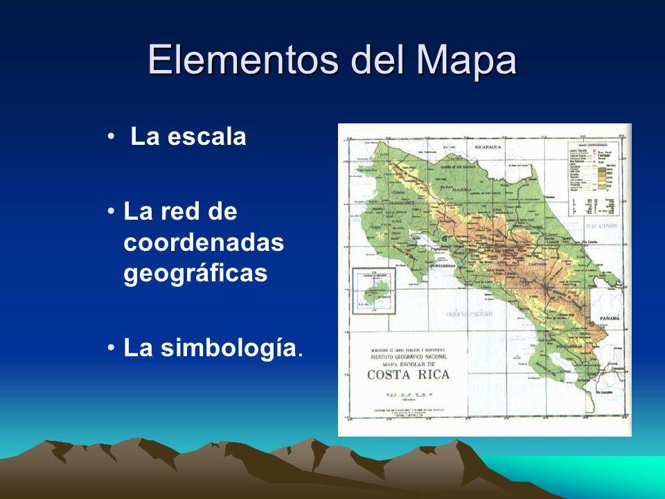Elementos del Mapa La escala La red de coordenadas geográficas