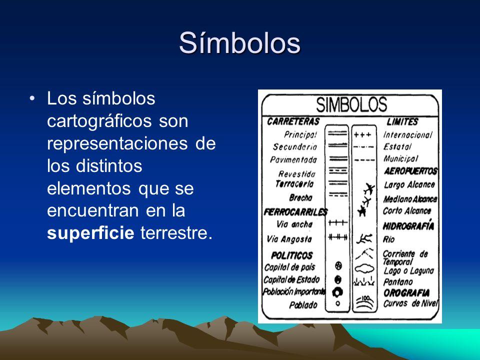 Símbolos Los símbolos cartográficos son representaciones de los distintos elementos que se encuentran en la superficie terrestre.