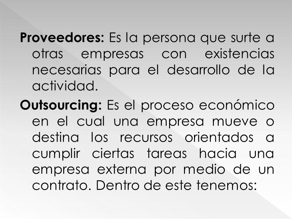 Proveedores: Es la persona que surte a otras empresas con existencias necesarias para el desarrollo de la actividad.
