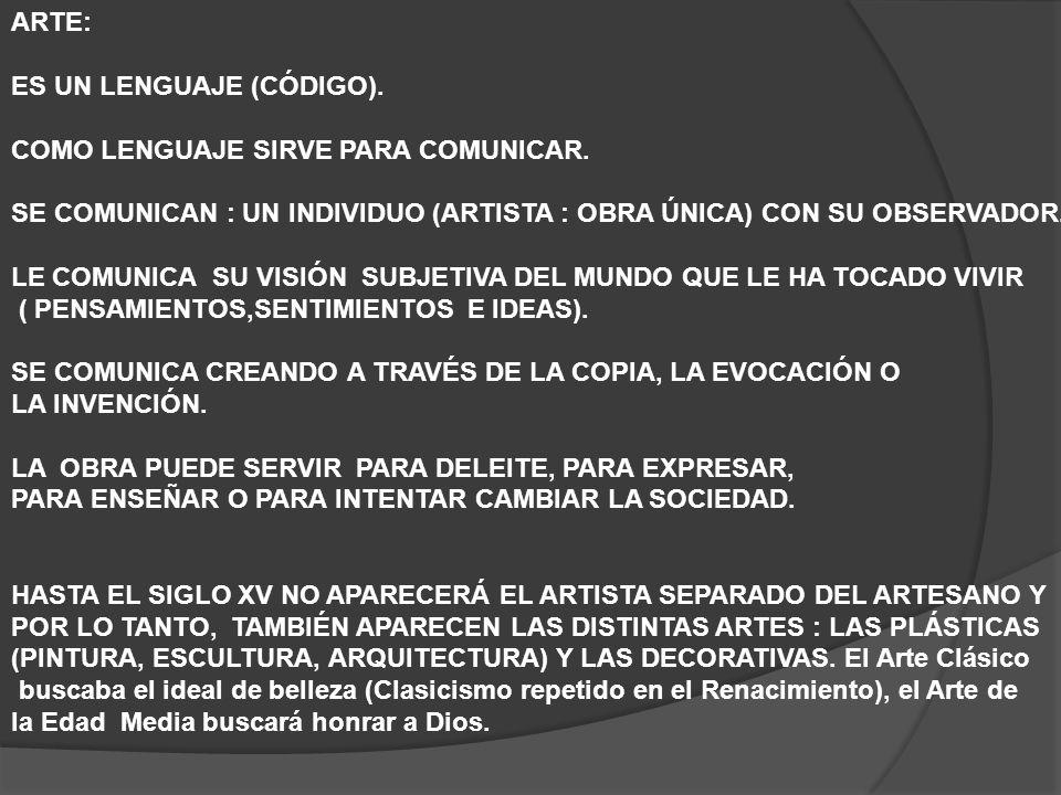ARTE: ES UN LENGUAJE (CÓDIGO). COMO LENGUAJE SIRVE PARA COMUNICAR. SE COMUNICAN : UN INDIVIDUO (ARTISTA : OBRA ÚNICA) CON SU OBSERVADOR.
