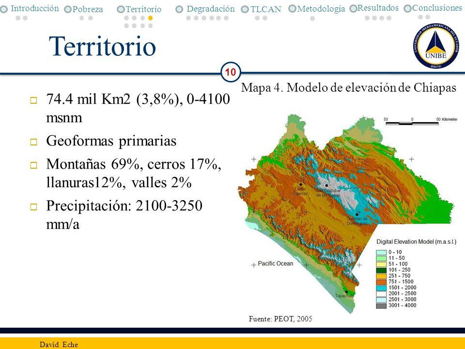Territorio 74.4 mil Km2 (3,8%), 0-4100 msnm Geoformas primarias