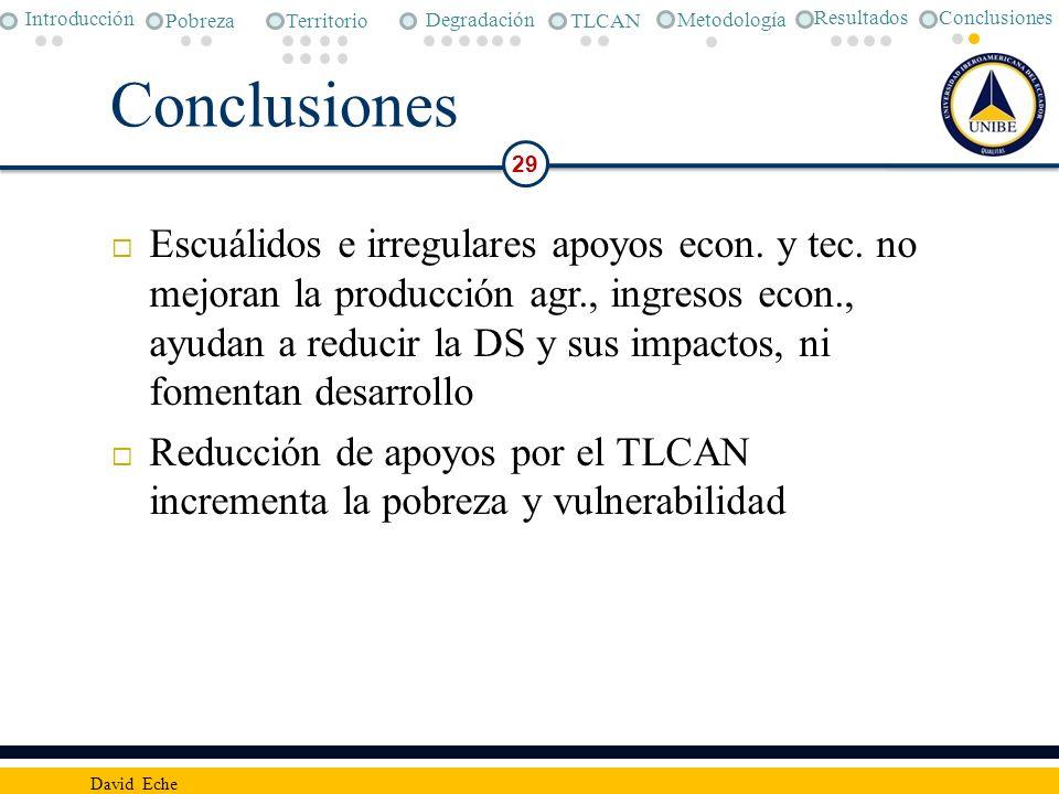 Conclusiones Metodología. Pobreza. Degradación. TLCAN. Introducción. Territorio. Resultados. Conclusiones.