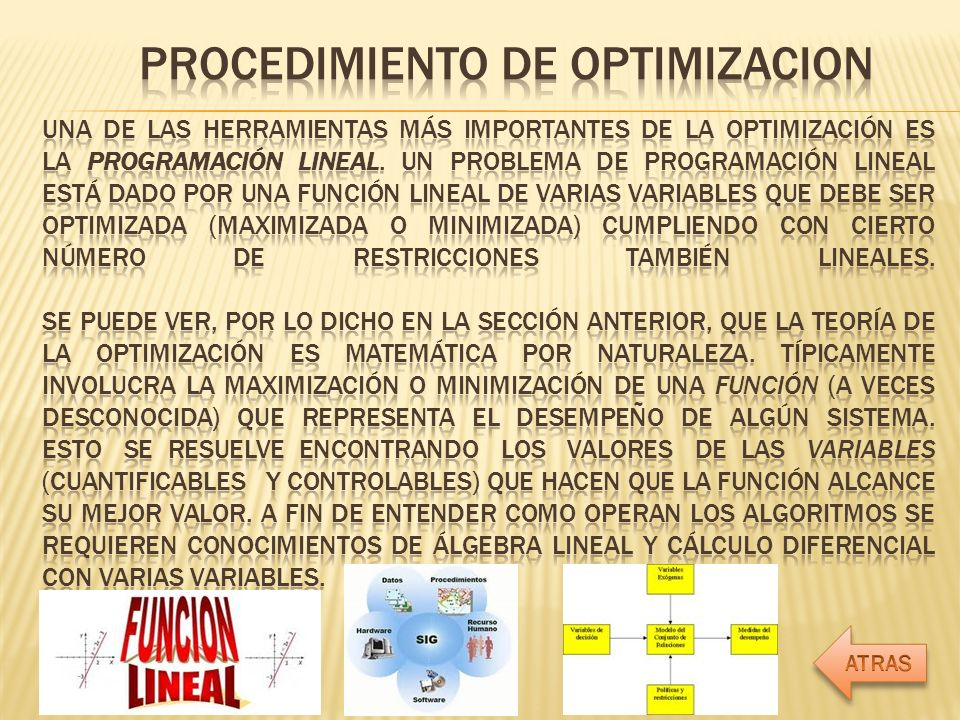 PROCEDIMIENTO DE OPTIMIZACION