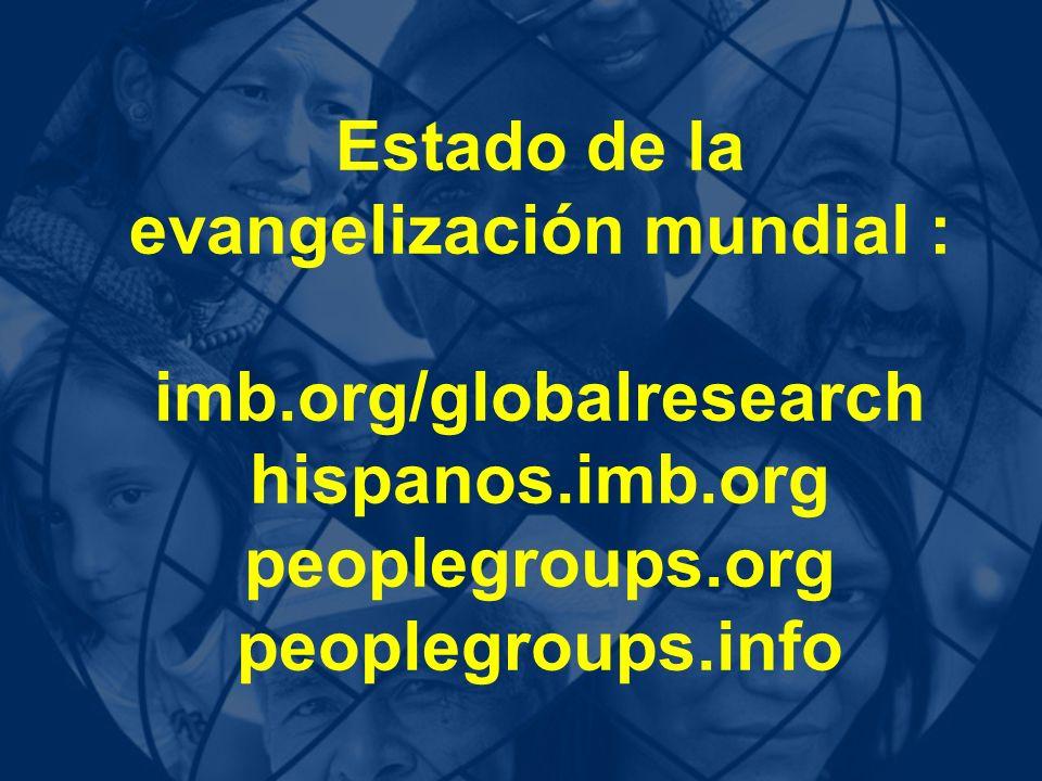 Estado de la evangelización mundial : imb. org/globalresearch hispanos