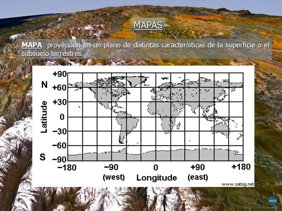 MAPAS MAPA: proyección en un plano de distintas características de la superficie o el subsuelo terrestres.