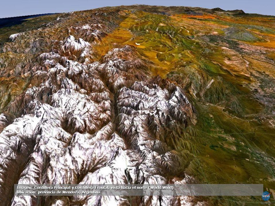 Imagen: Cordillera Principal y Cordillera Frontal, vista hacia el norte (World Wind)