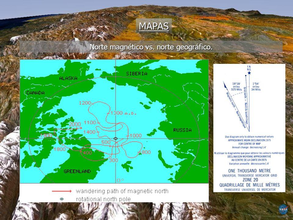 Norte magnético vs. norte geográfico.