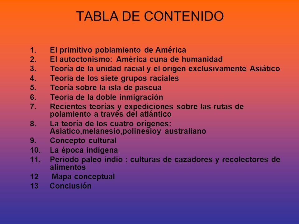 TABLA DE CONTENIDO El primitivo poblamiento de América