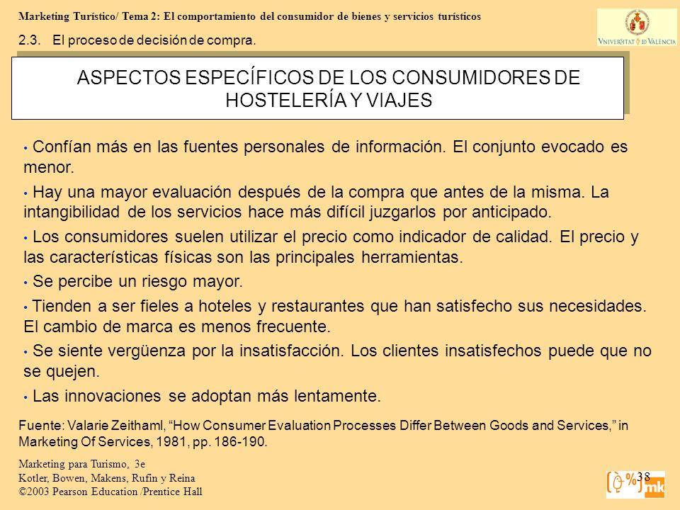 ASPECTOS ESPECÍFICOS DE LOS CONSUMIDORES DE HOSTELERÍA Y VIAJES