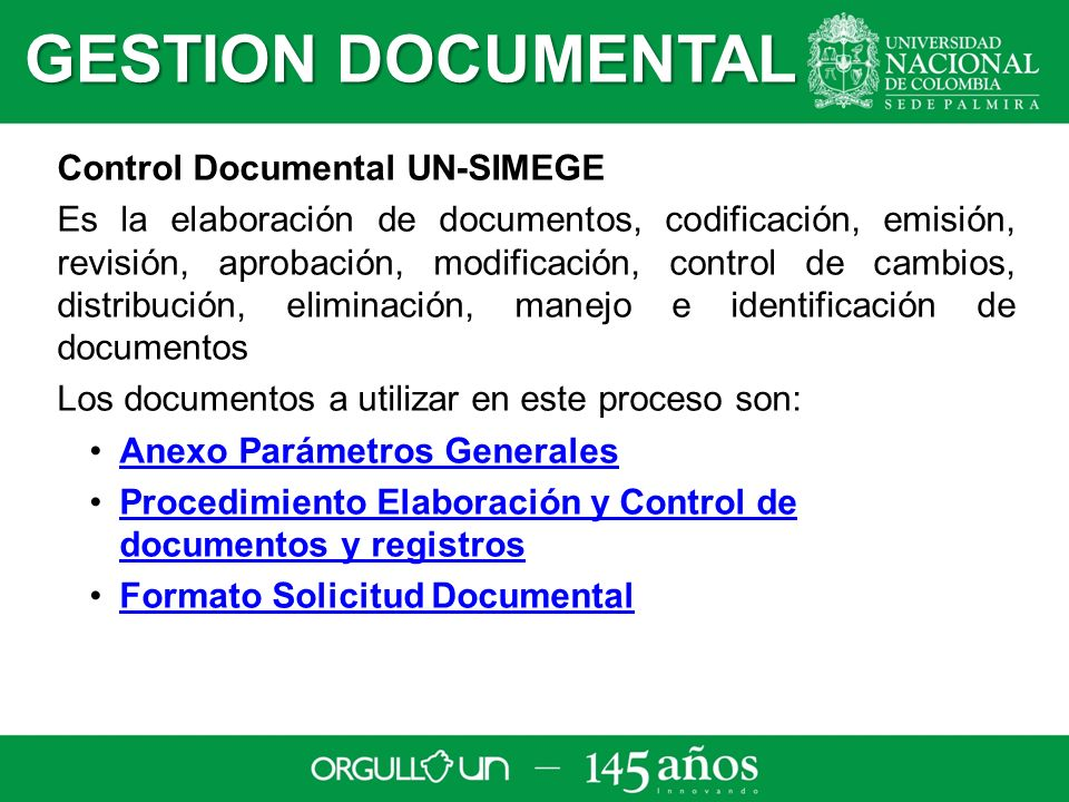GESTION DOCUMENTAL Control Documental UN-SIMEGE