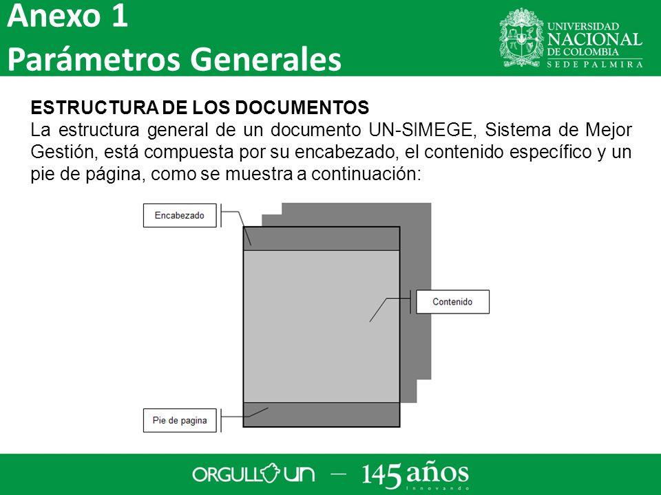 Anexo 1 Parámetros Generales ESTRUCTURA DE LOS DOCUMENTOS
